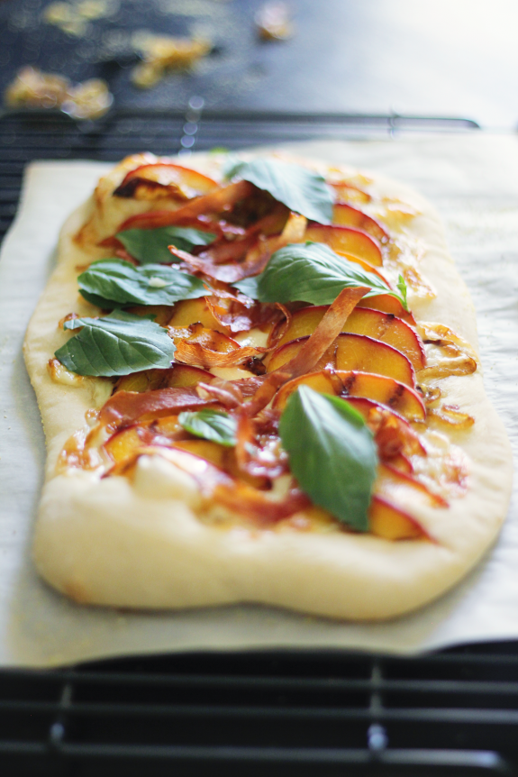 "This grilled peaches ""pizza"" creation."
