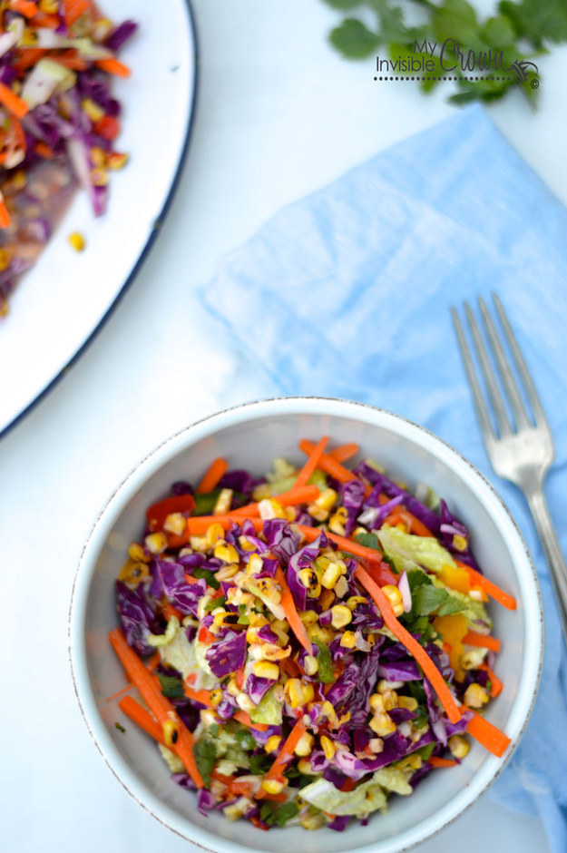 Grilled Corn Coleslaw with Tangy Lime Dressing