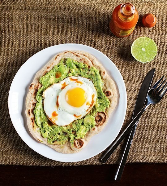 "This avocado and egg ""pizza"" breakfast."