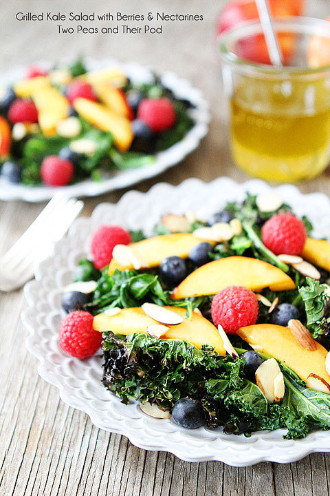 Grilled Kale Salad with Berries and Nectarines