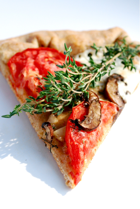 Tomato, Mushroom, and Thyme Pizza
