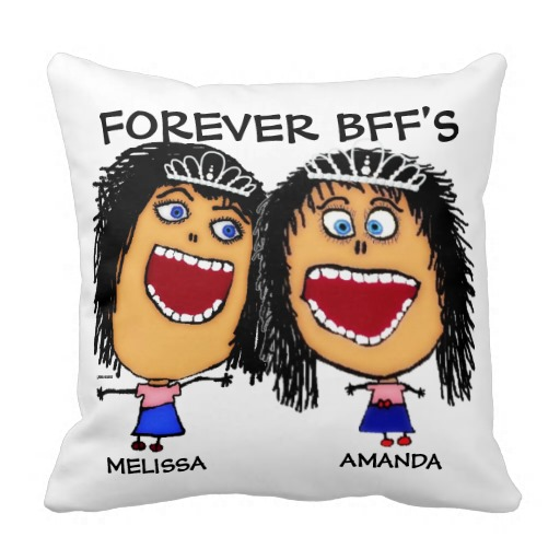Cartoon Best Friend BFF's Throw Pillows