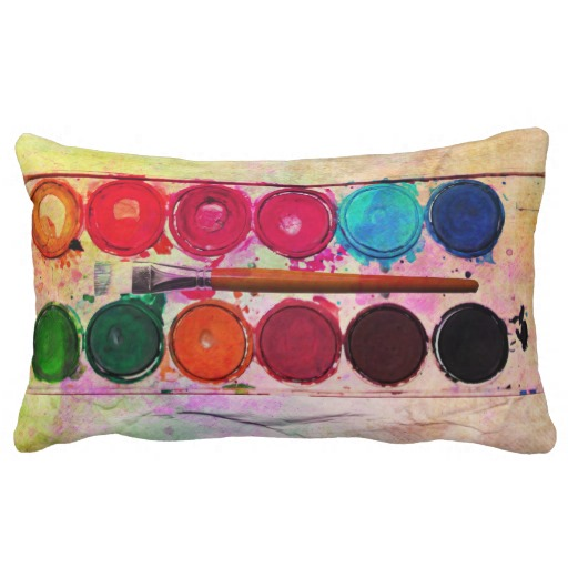 Fine Art Paint Color Box & Funny Artist Brush Pillows throw pillows