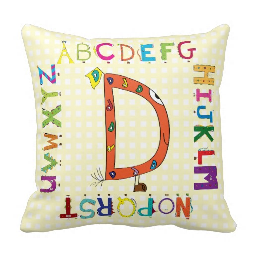 Funny Fellows™ Cartoon Character Alphabet Letter D Throw Pillows throw pillows