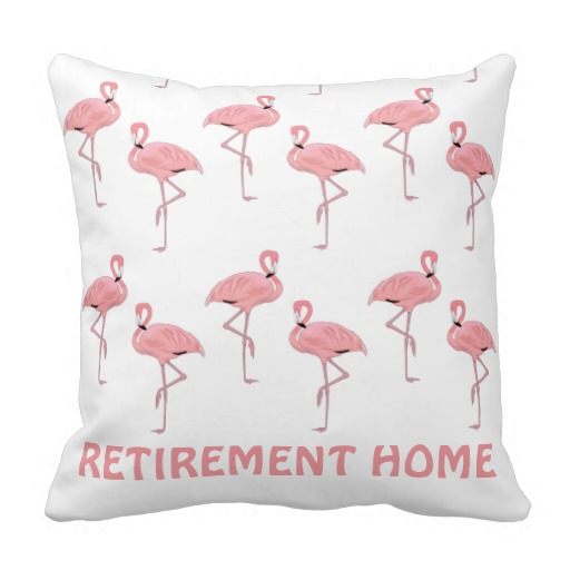 Funny Flamingo Retirement Home Throw Pillows throw pillows
