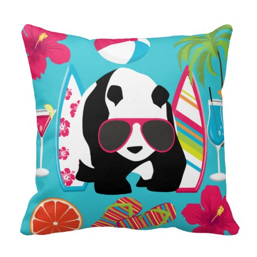 Funny Panda Bear Beach Bum Cool Sunglasses Surfing Pillows throw pillows