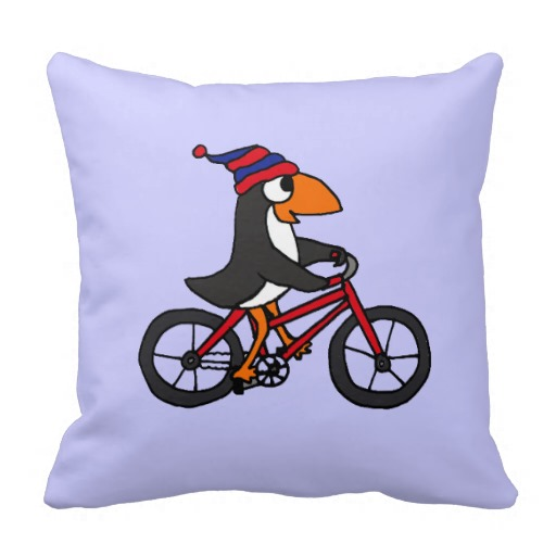 Funny Penguin Riding Red Bicycle Pillows