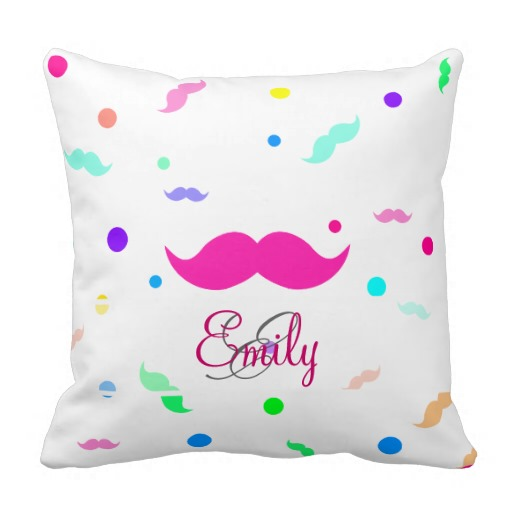 Monogram Neon Funny Mustache Polka Dots Pattern Pillow throw pillows