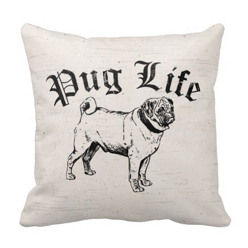 Pug Life Funny Dog Gangster Pillow throw pillows