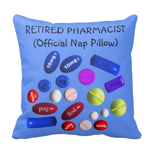"Retired Pharmacist ""Official Nap Pillow"" Pillows throw pillows"