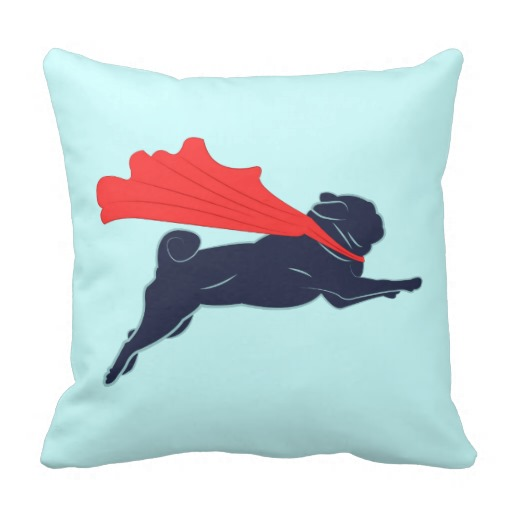 Super Pug Pillow throw pillows