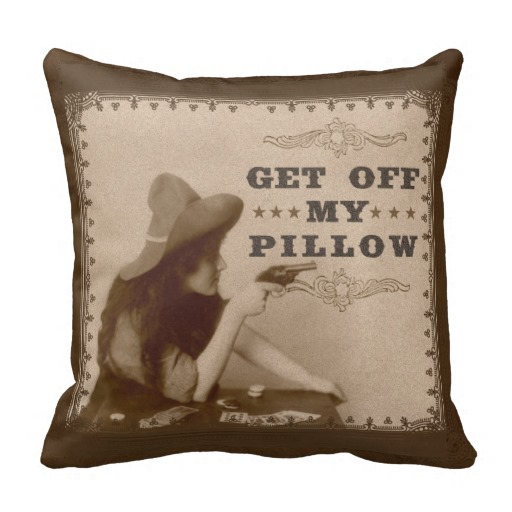 Vintage Girl with Gun Get Off Funny Pillows