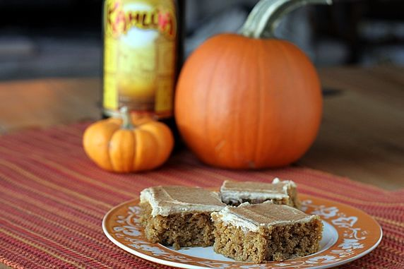 Pumpkin Bars with Kahlua and Cream Frosting. Whole wheat and reduced calories with AMAZING flavor! You can make ahead and freeze these, too. From TheYummyLife.com