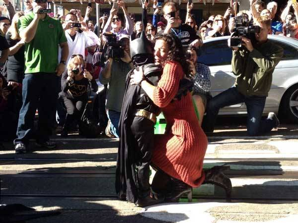 Woman thanking Batkid