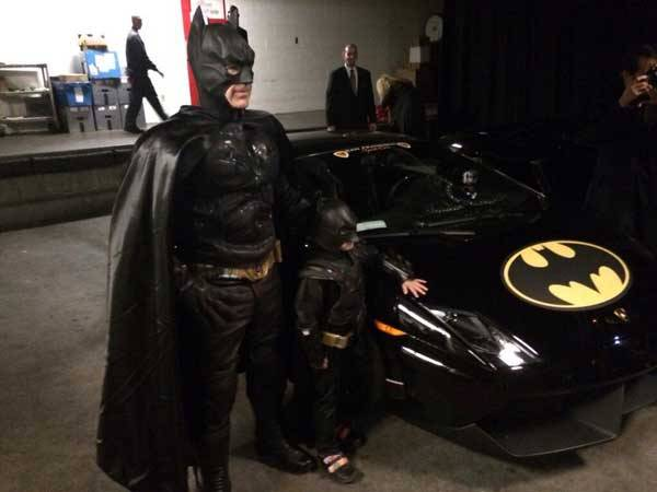 Batman and Batkid with Bat mobile
