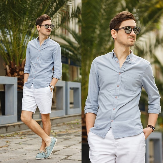 Gray polo and white shorts