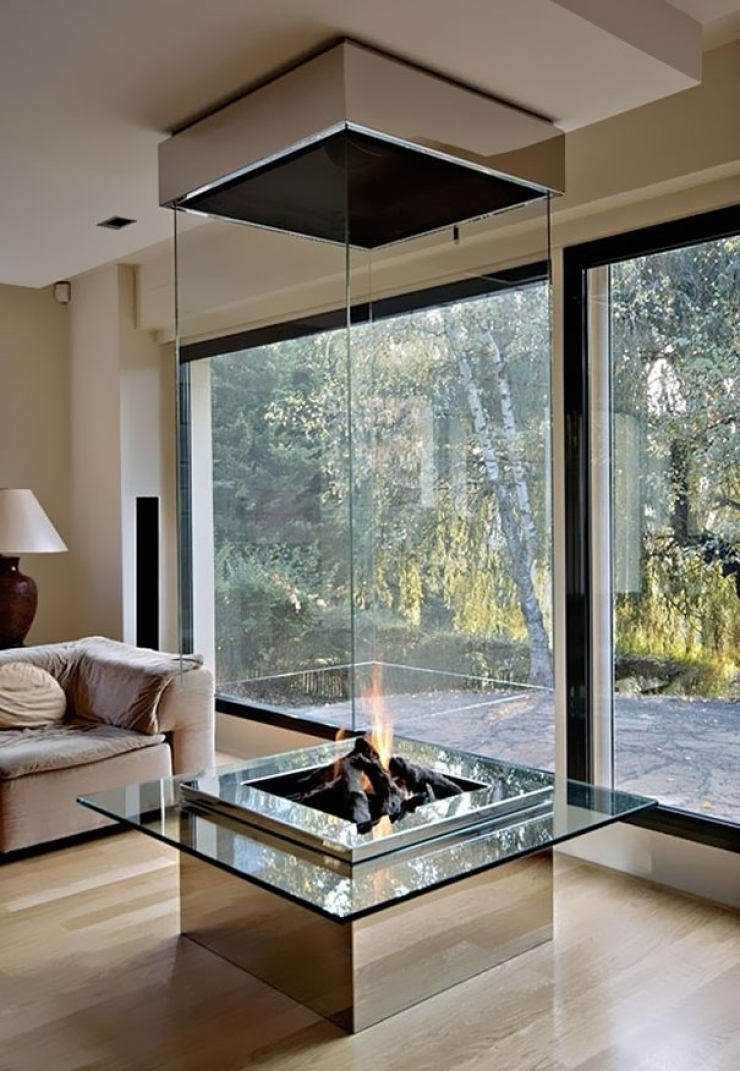 Fireplace in glass