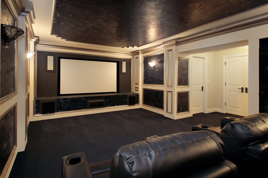 Classy Black And Brown Home Cinema With White Trim