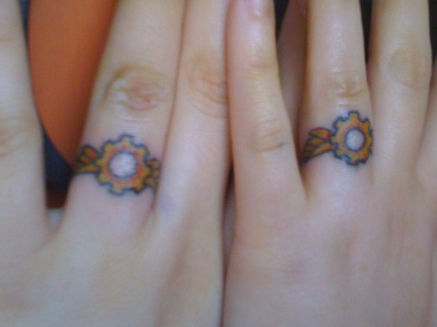7c9cde687 Steampunk Tattoos. Share. These steampunk-themed wedding ring tattoos has  brought the concept of cool ...