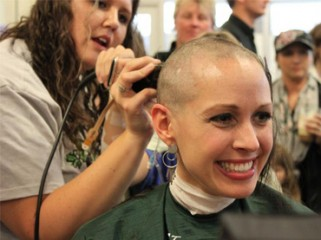 Shaving heads for cancer victims