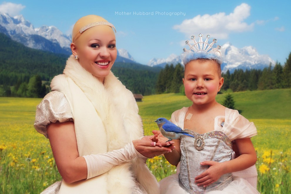 Princess Isabella Harvey with bald snow white with a bird