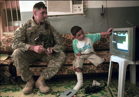 Soldier and civilian playing games