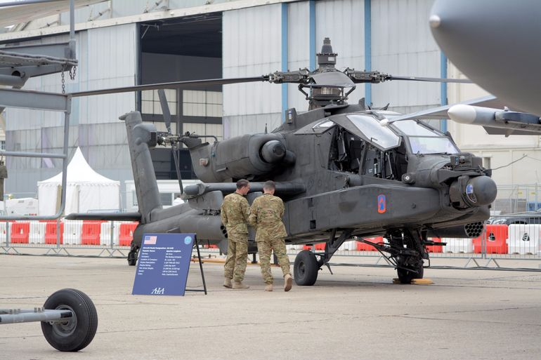 An AH-64D helicopter, otherwise known as an Apache Longbow. The 2 GE T700-GE-701C engines deliver 1,940 shp each and power the helicopter up to a top speed of 160 kt (296 km/h)