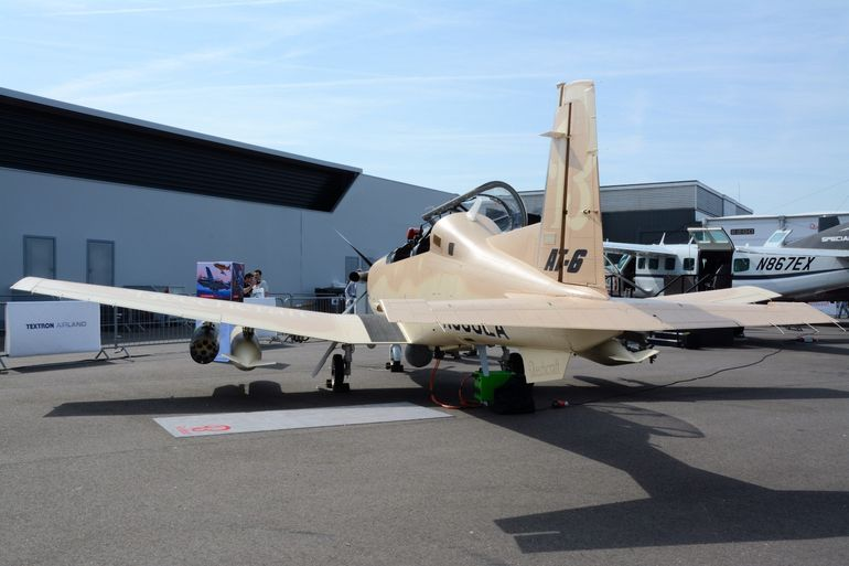 A rear view of Beechcraft's multi-role, multi-mission AT-6 Wolverine at the Paris Air Show