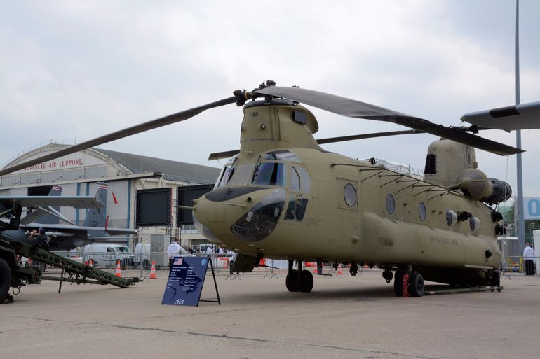 A Chinook (CH-47F) from Boeing, with two Honeywell 55-GA-714S engines making 3,750 shp each