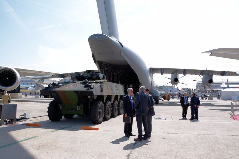The huge belly of the Airbus A400M military transporter can accommodate an NH90 helicopter or a VBCI infantry fighting vehicle or 116 troops