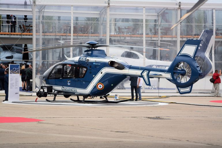 The new light twin multi-role H135 helicopter from Airbus on Gendarmerie duty at Le Bourget airport