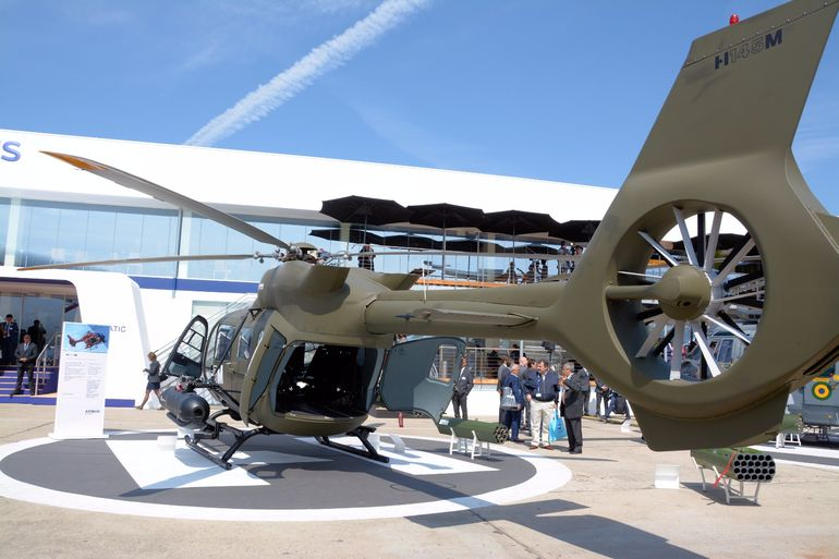 Two Turbomeca Arriel 2E engines power this Airbus H145M armed multi-role light twin helicopter