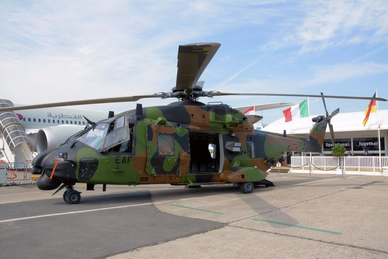 The NH90 Caiman is described as a primary weapon system in the defense of a surface fleet