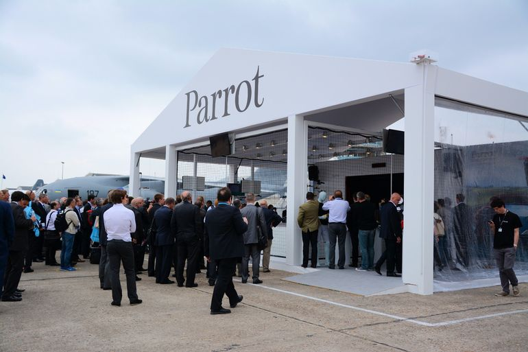 Parrot's minidrone booth at the Paris Air Show proves a popular stop off point for visitors
