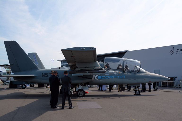 """See, Sense, Sting"" can be seen on the nose of this Textron AirLand Scorpion, making its Paris debut"