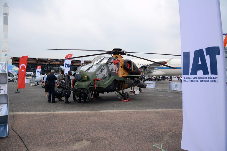 A TAI/AgustaWestland T129 ATAK tandem two-seat, twin engine attack helicopter features a LHTEC CTS-800 4A powerplant and an operational range of 561 km