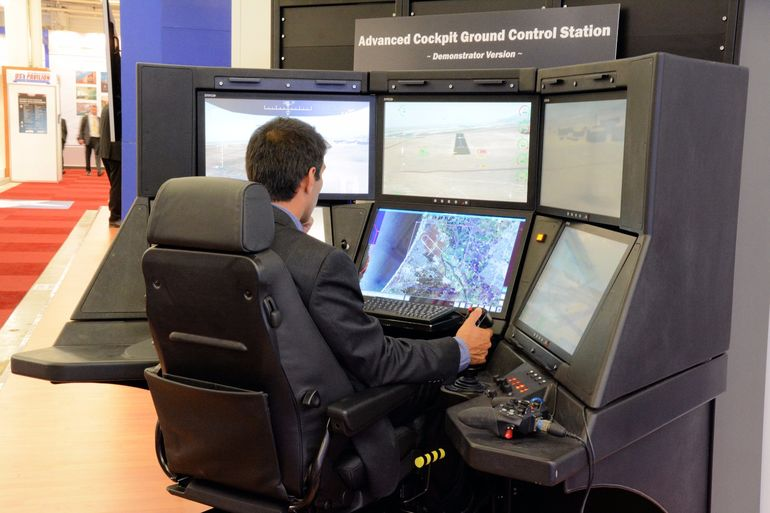 There were a number of flight simulation and ground control modules on display at the Paris Air Show