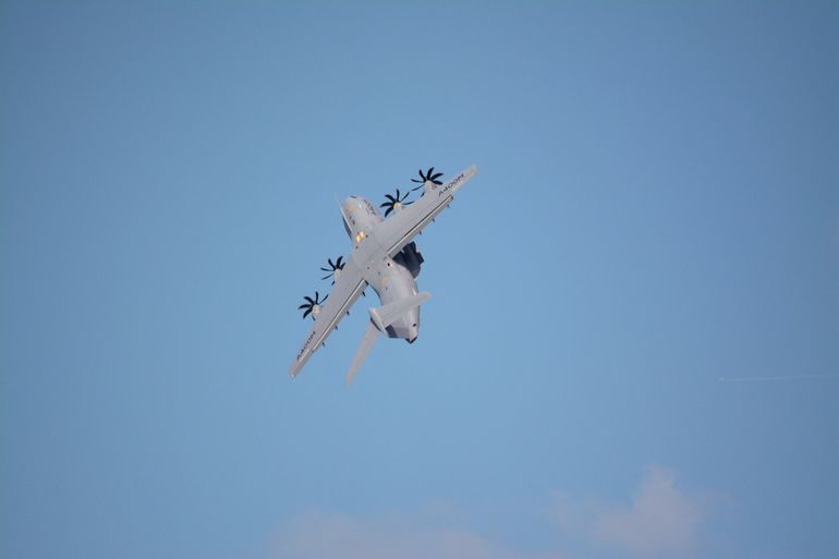 The Airbus A400M's vertical climb shortly after takeoff