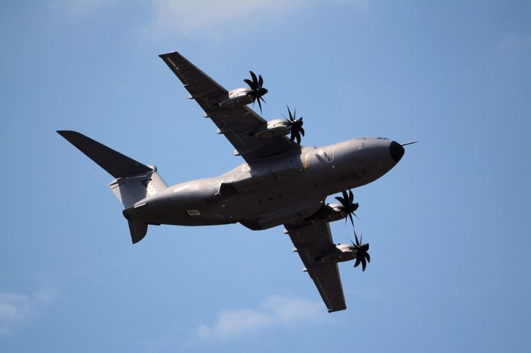 The Airbus A400M has a maximum range of 4,800 nautical miles (8,900 km)