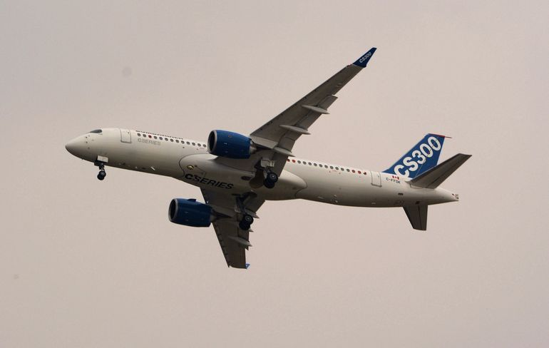 Despite a rather gloomy day at Le Bourget, Bombadier has high hopes for its new CS300 commercial jet