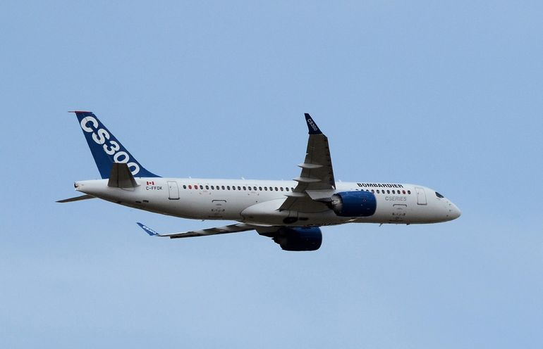 The CS300 from Bombardier takes to the air over Le Bourget