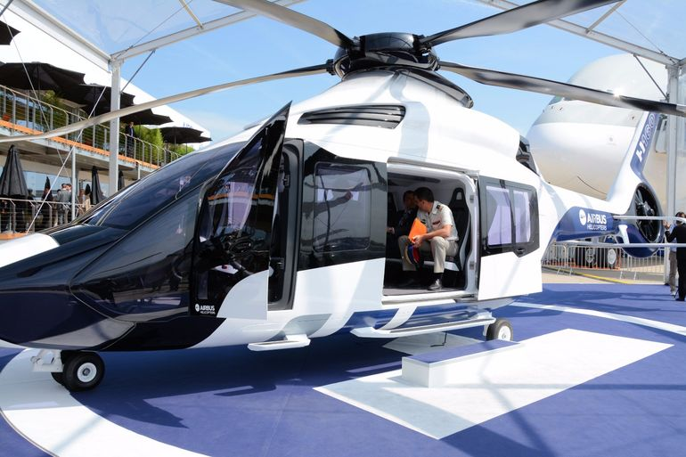 "The H160 helicopter <a href=""http://www.gizmag.com/airbus-h160-first-flight/38055/"">took to the air for the first time</a> just before the doors opened to the 51st Paris Air Show"