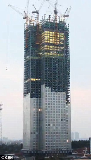 A developer in China has built an entire 57-storey building - Mini Sky City - in just 19 days