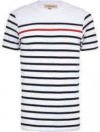 River Island Navy Contrast Stripe Short Sleeve T-shirt