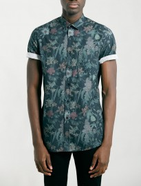 Topman Dark Green Floral Print Short Sleeve Shirt