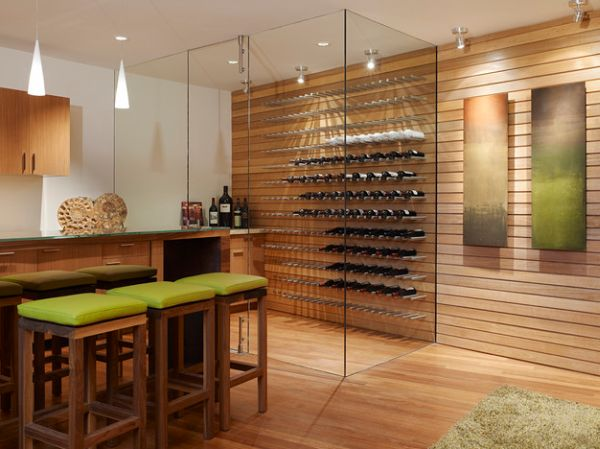 Floor to ceiling glass walls employed in this cool contemporary wine cellar Intoxicating Design: 29 Wine Cellar And Storage Ideas For The Contemporary Home