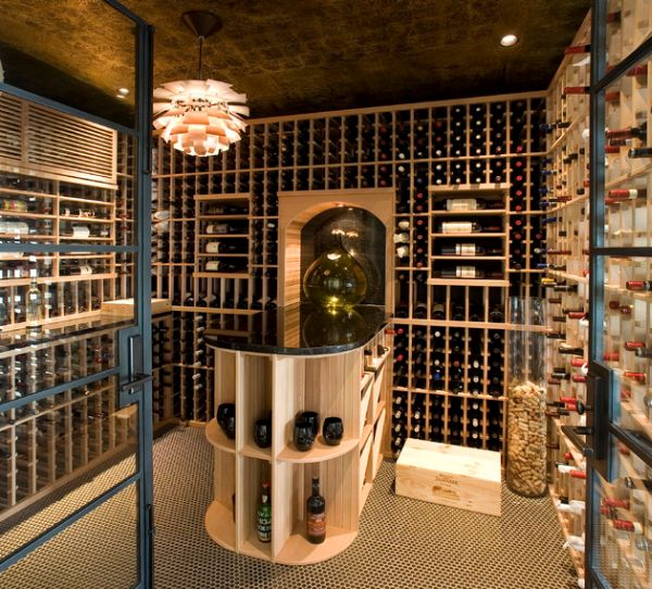 Glass vases and a chandelier make lovely additions to the wine cellar