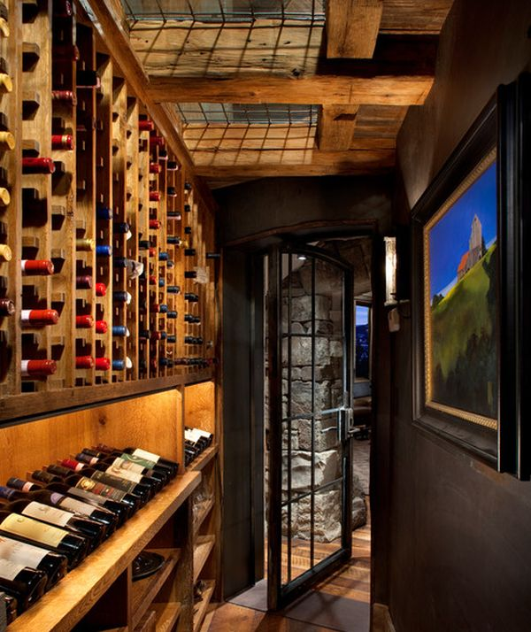 Interesting wine cellar with skylights and wall art