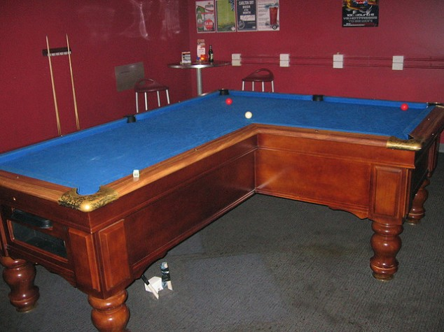 The Infamous L Shaped Pool Table.