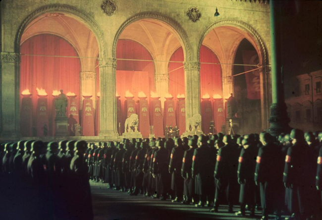 SS troops taking a loyalty oath in Munich, 1938.